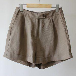 Frank & Oak Linen Brown Shorts